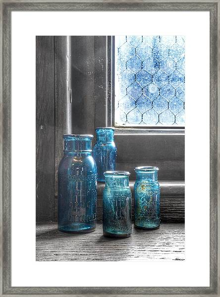 Bromo Seltzer Vintage Glass Bottles Framed Print