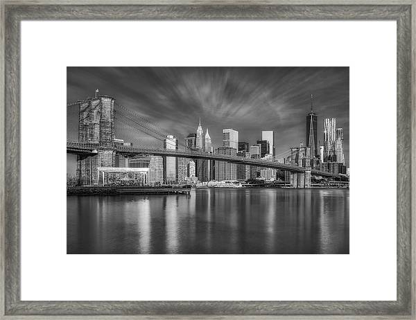 Framed Print featuring the photograph Brooklyn Bridge From Dumbo by Susan Candelario