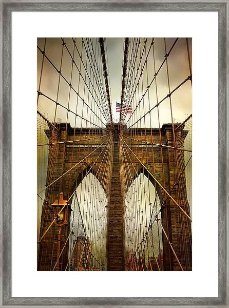 Brooklyn Bridge Twilight Framed Print