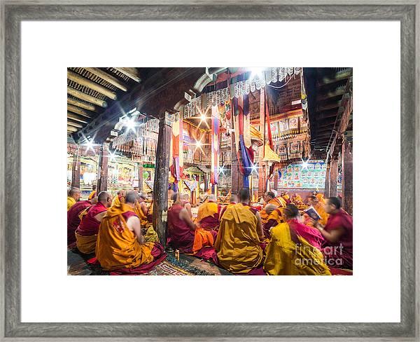 Buddhist Monks Praying In Thiksay Monastery Framed Print