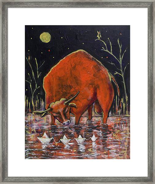 Bull And Paper Boats Framed Print