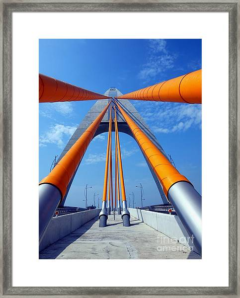 Cable Stayed Bridge With Orange Clad Cables Framed Print