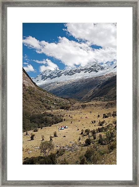 Camping In Huaripampa Valley Framed Print