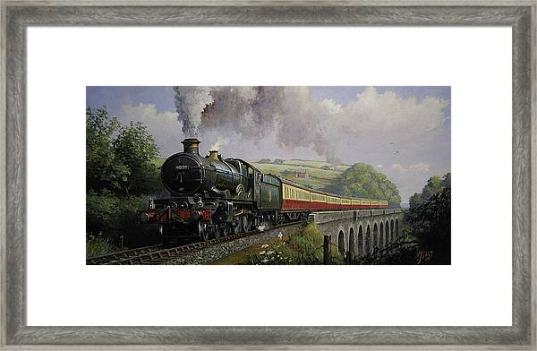 Castle On Broadsands Viaduct Framed Print by Mike Jeffries