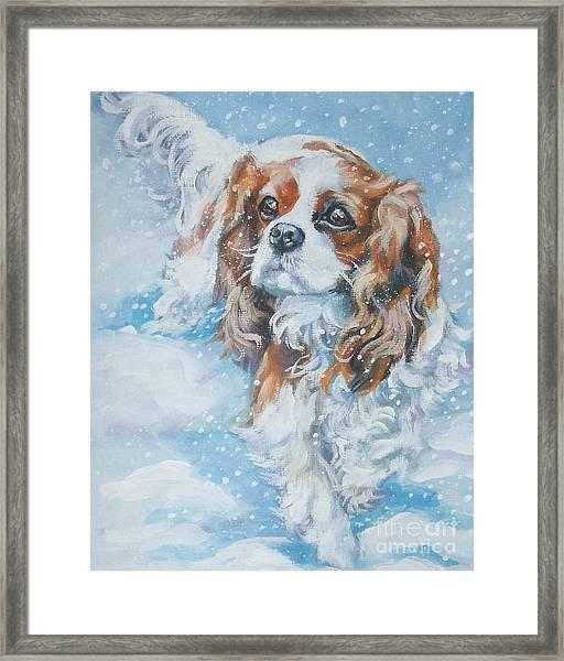 Cavalier King Charles Spaniel Blenheim In Snow Framed Print