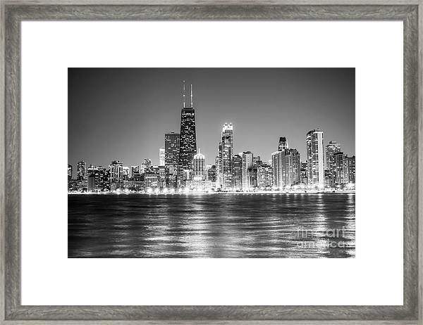 Chicago Lakefront Skyline Black And White Photo Framed Print