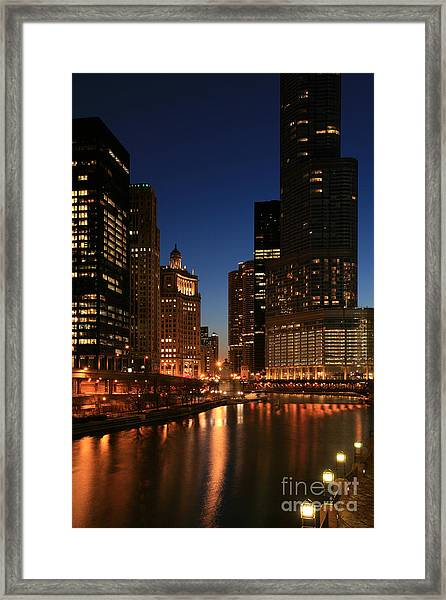 Chicago River Reflections Framed Print