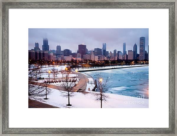 Chicago Skyline In Winter Framed Print