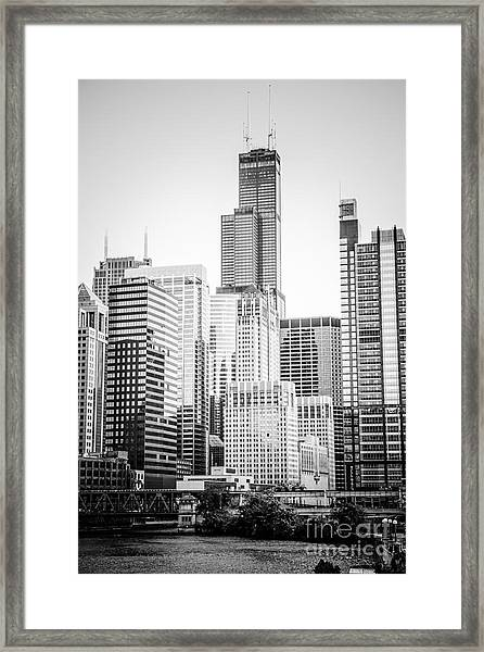 Chicago With Sears Willis Tower In Black And White Framed Print