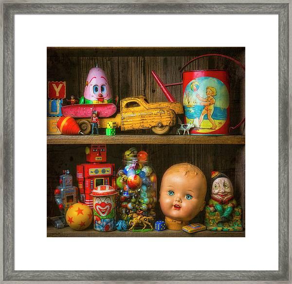 Childhood Toys On Old Shelf Framed Print