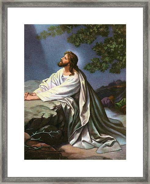 Christ In The Garden Of Gethsemane Framed Print