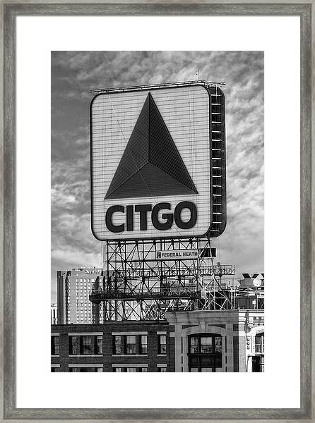 Framed Print featuring the photograph Citgo Sign Kenmore Square Boston by Susan Candelario