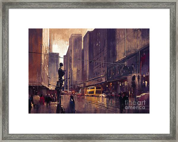 Framed Print featuring the painting City Street by Tithi Luadthong