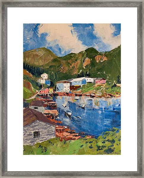Coastal Village, Newfoundland Framed Print