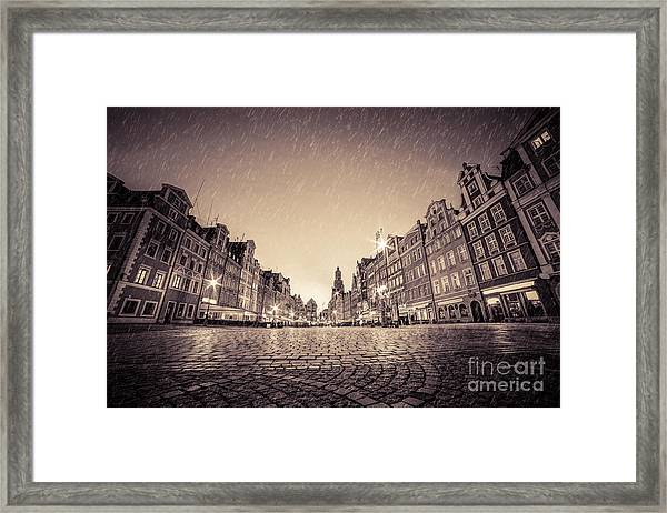 Cobblestone Historic Old Town In Rain At Night Wroclaw Framed Print