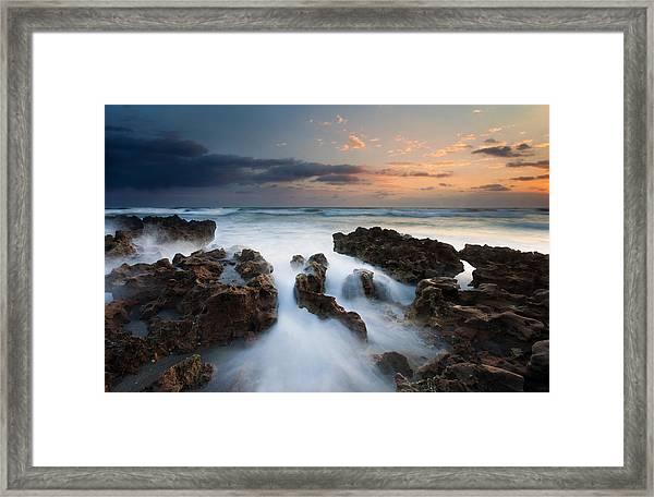 Coral Cove Dawn Framed Print