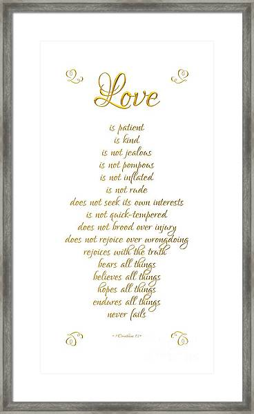 1 Corinthians 13 Love Is White Background Framed Print