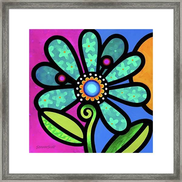 Cosmic Daisy In Aqua Framed Print