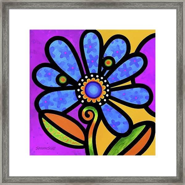 Cosmic Daisy In Blue Framed Print