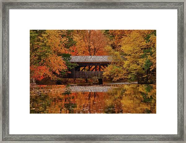 Covered Bridge At Sturbridge Village Framed Print