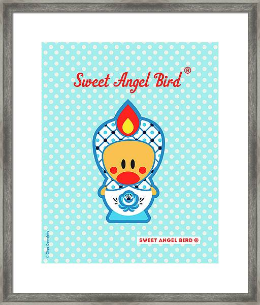 Cute Art - Blue Polka Dot Folk Art Sweet Angel Bird In A Nesting Doll Costume Wall Art Framed Print