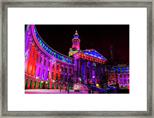 Denver City And County Building Holiday Lights Framed Print