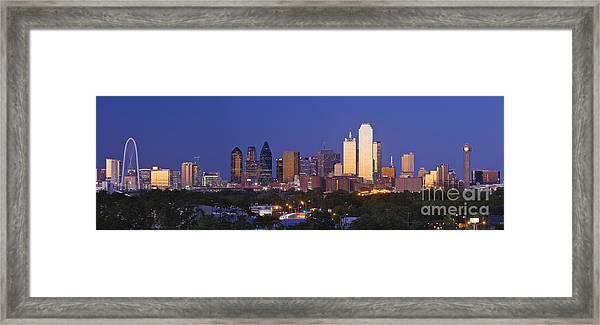Downtown Dallas Skyline At Dusk Framed Print