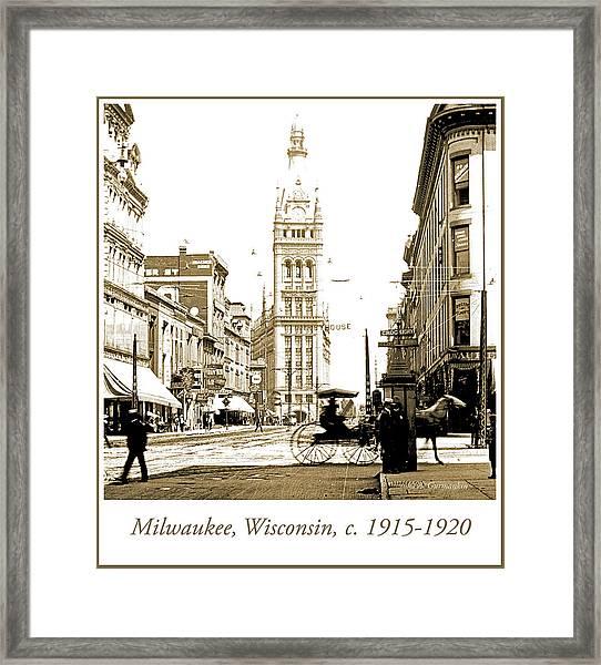 Downtown Milwaukee, C. 1915-1920, Vintage Photograph Framed Print