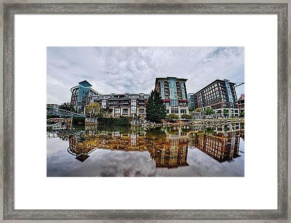 Downtown Of Greenville South Carolina Around Falls Park Framed Print