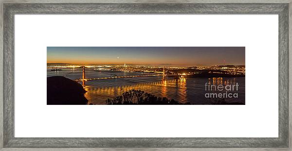 Downtown San Francisco And Golden Gate Bridge Just Before Sunris Framed Print