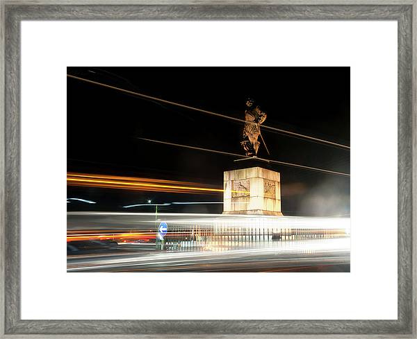 Drake's Statue Traffic Trails Iv Framed Print