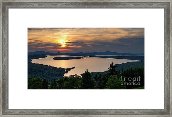 Dusk, Mooselookmeguntic Lake, Rangeley, Maine  -63362-63364 Framed Print