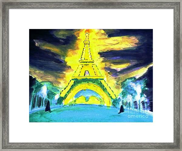 Eiffel Tower Night Optical Illusion Framed Print