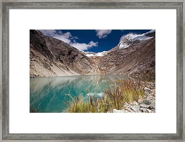 Emerald Green Mountain Lake At 4500m Framed Print
