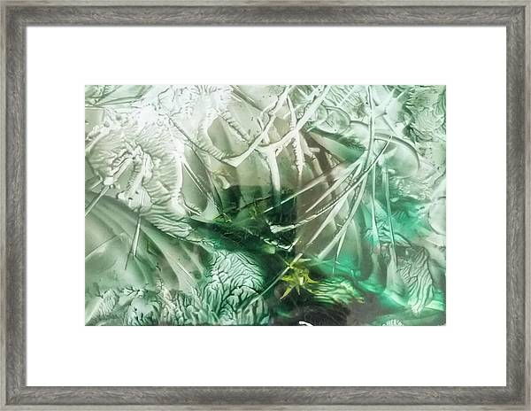 Encaustic Abstract Green Foliage Framed Print