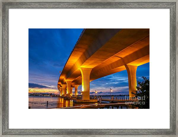 Framed Print featuring the photograph Evening On The Boardwalk by Tom Claud