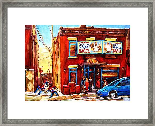 Fairmount Bagel In Winter Framed Print