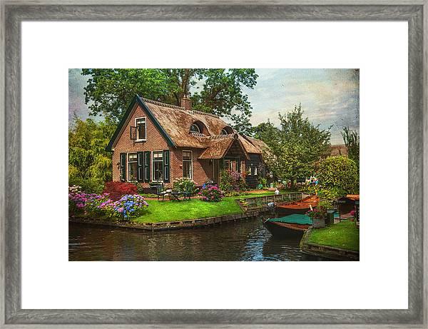 Fairytale House. Giethoorn. Venice Of The North Framed Print