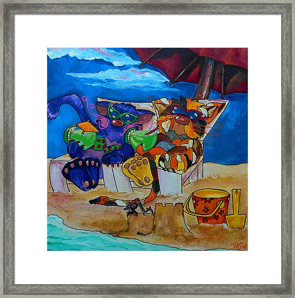 Fat Cats Catchin Rays Framed Print