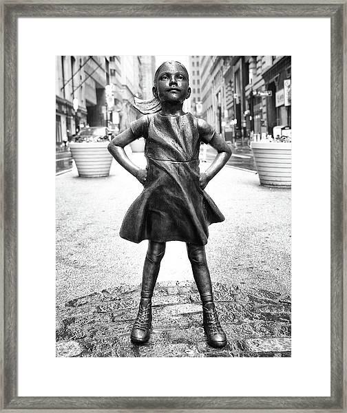 Fearless Girl Bnw Framed Print