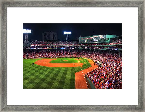 Fenway Park At Night - Boston Framed Print