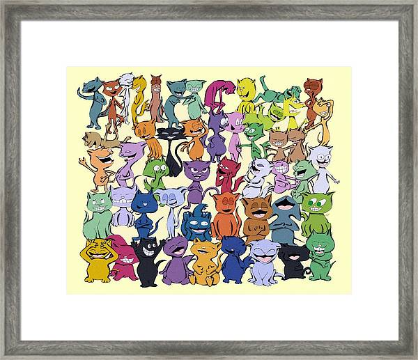Fifty Happy Cats Framed Print