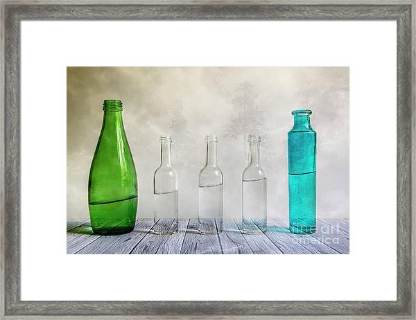 Five Bottles Framed Print
