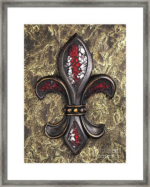 red mosaic Fleur-di-lis Framed Print