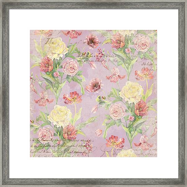 Fleurs De Pivoine - Watercolor In A French Vintage Wallpaper Style Framed Print