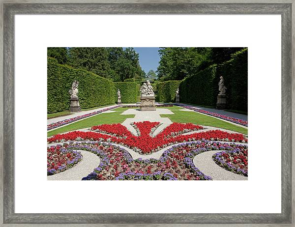 Flowerbeds And Sculptures In Eastern Parterre Framed Print