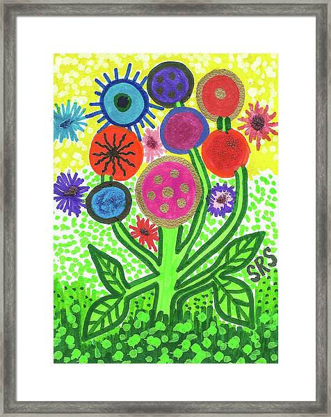 Flowers In The Round 9.7 Framed Print