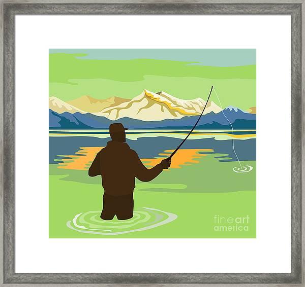 Fly Fisherman Casting Framed Print