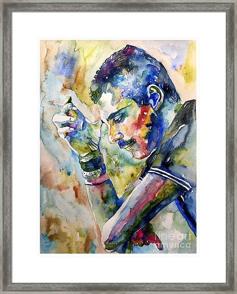 Freddie Mercury Watercolor Framed Print