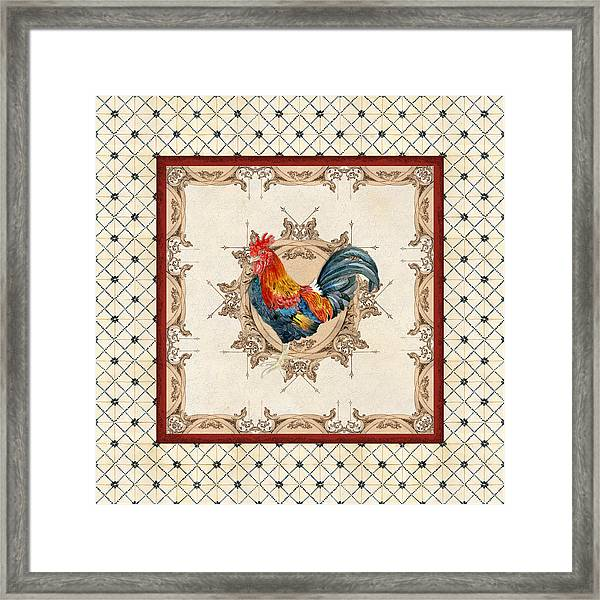 French Country Roosters Quartet Cream 2 Framed Print